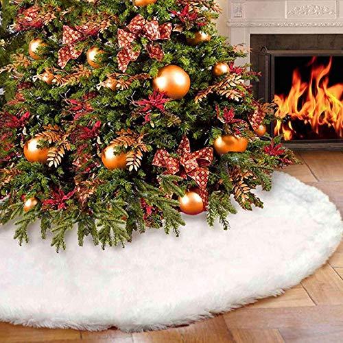 FEIGER Christmas Tree Skirt Xmas Tree Mat Tree Plush Floor Tree Carpet Faux Fur Tree Mat for Christmas New Year Party Holiday Home Decorations (Christmas Tree Skirt fo