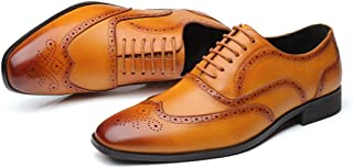 YND Men's Classic Wingtip Oxford, Modern Full Brogues, Casual Derby Shoes