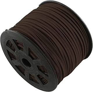 T&B 3mm Faux Suede Cord Flat Lace Leather String 100 yd/roll for Jewelry Making (Dark Brown)