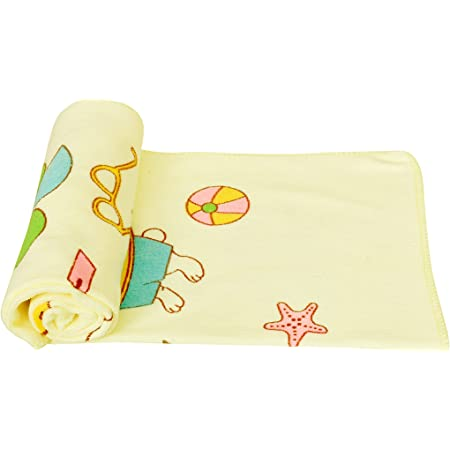 THE LITTLE LOOKERS® Towel/Bath Towel / 100% Cotton Washcloth for New Born Baby/Infants/Toddlers in Random Prints (Lemon, Pack of 1(60x105Cm))