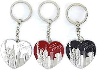 12x New York NYC NY Heart Keychain Metal Key Ring Skyline Souvenir Patriotic Statue Liberty Freedom Tower Brooklyn Bridge Empire State Building Christmas Gift 3 ASST