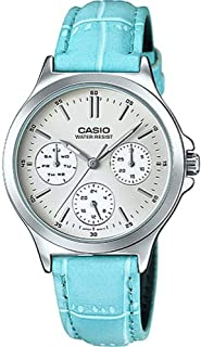 Casio Round Analog Watche LTP-V300L-2A, Silver Band