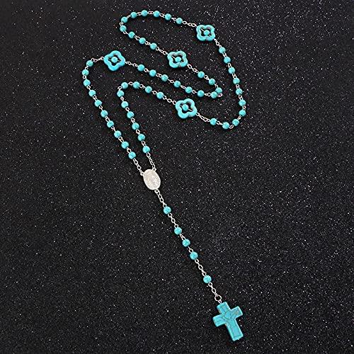 Turquesas Católicas Rosario Cruz Collares Virgen María Charm Collares con Cuentas Redondas Joyería Religiosa De Oración 74Cm