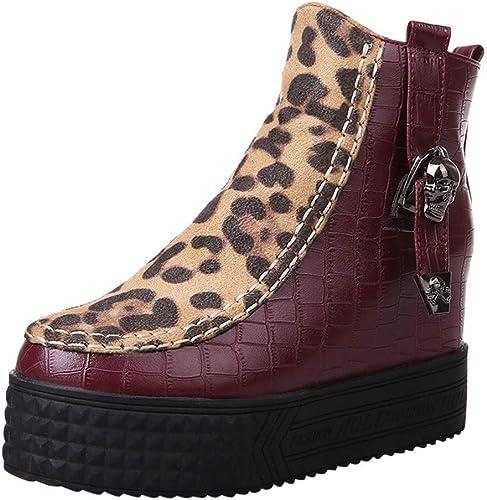 ZHRUI Bottes pour Femmes, Chaussures à Talons Hauts pour Femmes, Bottes Martin léopard zippées Chaussures à Bride (Couleuré   Rouge, Taille   40 EU)