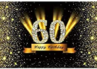 Zhy 60歳の誕生日の背景7x5ftポリエステル生地60歳の誕生日Bashの背景キラキラハッピーバースデー写真の背景60歳の誕生日パーティーの装飾バースデーケーキの背景小道具