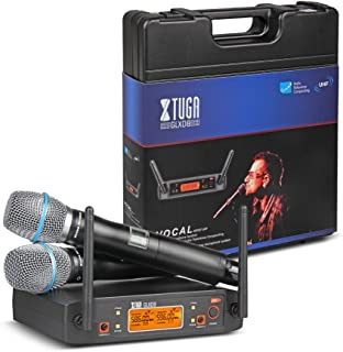 XTUGA Portable UHF Microphone System with Carry case 2 Metal handhled MIC Box Cordless Wireless for Stage Church Wedding G...