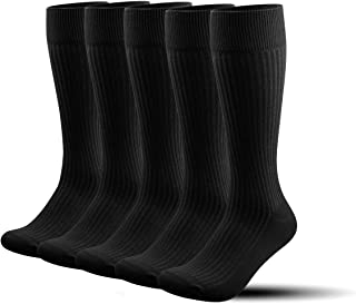 5PR Calcetines ejecutivos con Traje hombre Algodón hasta de rodilla altos largos secos de algodón,Athletic Fit Calcetines para Deporte,Running,Futbol,Coolmax,dress socks
