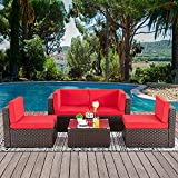 Walsunny 5pcs Patio Outdoor Furniture Sets,Low Back All-Weather Rattan Sectional Sofa with Tea Table&Washable Couch Cushions(Brown Rattan)(Red)