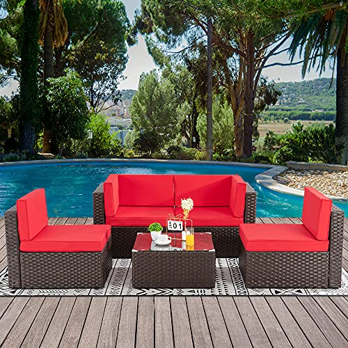 Walsunny 5pcs Patio Outdoor Furniture Sets,Low Back All-Weather Rattan Sectional Sofa with...