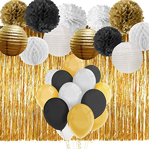 Paxcoo Black and Gold Party Decorations with Balloons Paper Pom Poms Lanterns and Fringe Curtain for 18th, 21st, 30th, 40th, 50th, 60th, 75th, 80th Birthday