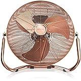 Brandson - Windmaschine Retro Stil | Ventilator in Kupfer | Standventilator 30cm | Tischventilator/Bodenventilator | hoher Luftdurchsatz | robuster Stand | stufenlos neigbarer Ventilatorkopf | Kupfer