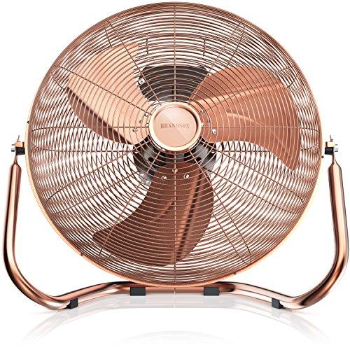 Brandson - Windmaschine Retro Stil - Ventilator in Kupfer - Standventilator 30cm - Tischventilator Bodenventilator - hoher Luftdurchsatz - robuster Stand - stufenlos neigbarer Ventilatorkopf - Kupfer