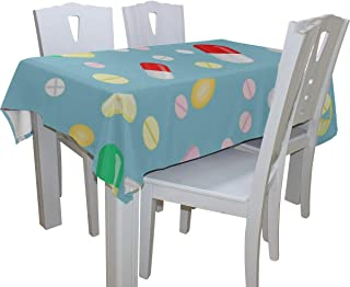Fenda A Large Number of Oral Pills 100% Polyester Tablecloth Printed Dining Room Kitchen Rectangular Round Table Cover Tabletop Decor 60x108 Inch Washable