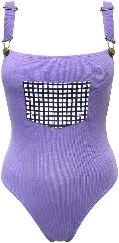 Voke Swimwear Kid One Piece – Dungaree Styled-Cut – High-Cut Leg – Stonewash purple – Adjustable Buckle Straps – Cotton MadeFunctional Pockets
