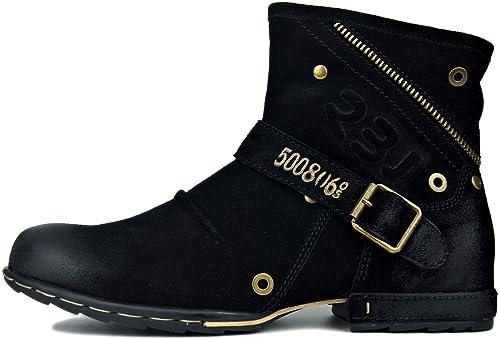 RSHENG Leder Herren Herren Herren Herbst und Winter Mode Reißverschluss Stiefeletten Martin Stiefel Herren Western Casual Schuhe  neueste Styles