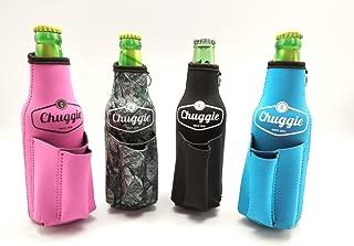 Chuggie Bottle with Two Pockets - Holds Cigarette and Lighter, Phone, Keys, 3mm Neoprene (4 Pack)