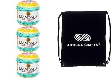 Lion Brand Knitting Yarn Mandala Baby Honeydukes 3-Skein Factory Pack (Same Dye Lot) 526-207 Bundle with 1 Artsiga Crafts Project Bag