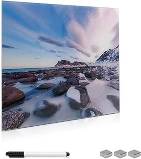 Navaris Tablero magnético de Cristal de 50x50CM - Pizarra magnética para Notas con diseño de Playa - Tablero de Vidrio con Marcador e imanes