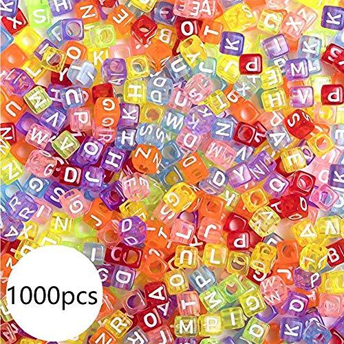 ToBeIT Acrylic Alphabet Letter'A-Z' Cube Colour Beads 1000 pcs for Jewelry Making, Bracelets, Necklaces(6mm) (Colour)