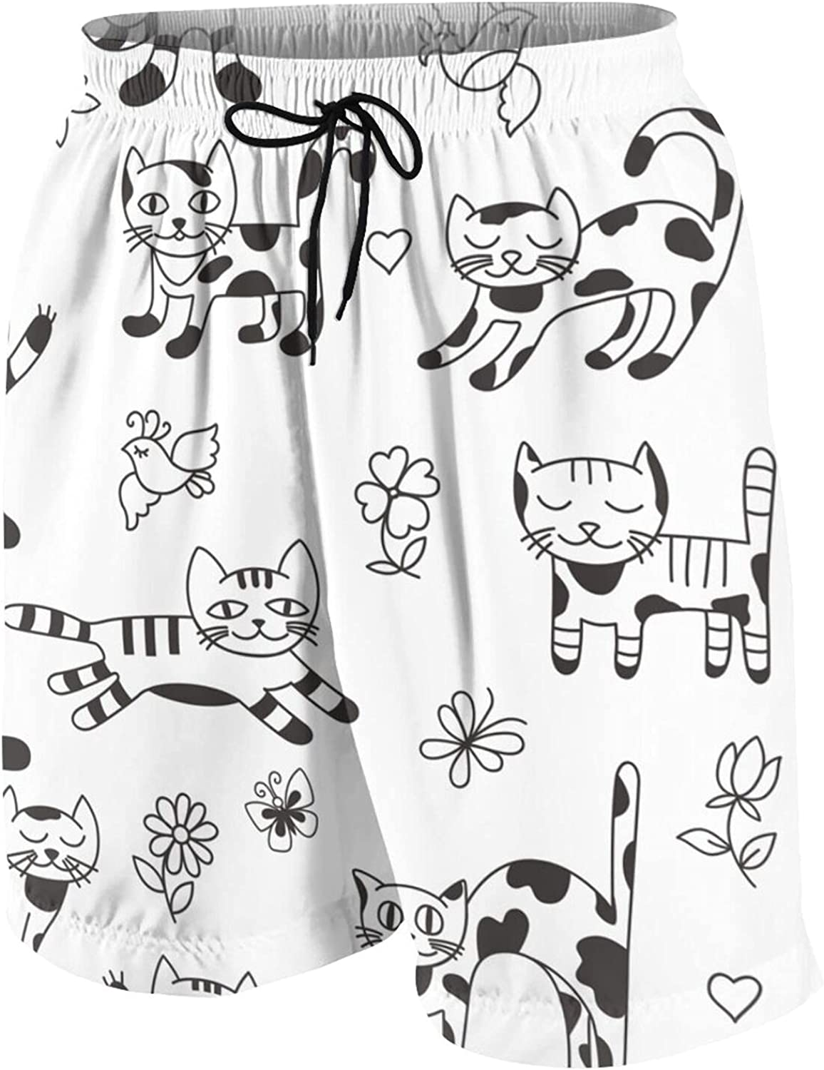 Seamless with Funny Cats, Birds, Flowers A Kids Beach Shorts Youth Boys Board Shorts Trunk Swim Swimming Pants for 7-20 Years White