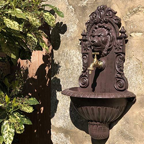 chemin_de_campagne Fontaine Tête de Lion Murale de Jardin Robinet Marron 60 cm x 37 cm x 20 cm