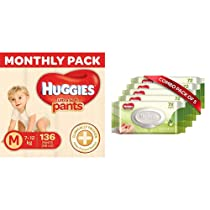 Huggies Ultra Soft Pants Diapers Monthly Pack, Medium (136 Count) & Huggies Baby Wipes – Cucumber & Aloe, Pack of 5 (360 Wipes)