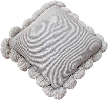 LIFEREVO Cotton Knitted Square Decorative Cushion Cover Sweater Pompoms Fringe Throw Pillow Covers Solid,  18 by 18 Inches,  Gray