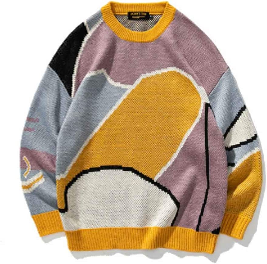 ZYING Men Cartoon Winter Wool Sweater Pullover Mens Neck Knitted Sweater Women Korean Casual Clothes (Color : Gray)
