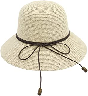 Songlin @ yuan Folding Ladies Straw Hat Handmade Beach Summer Hat Crochet Bowknot Straw Portable Cap Size:56-58CM (Color : Khaki, Size : 56-58CM)