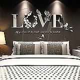 JiaMeng Pegatina de Pared, Elegante Hoja desprendible 3D Love Etiqueta de la Pared calcomanías de Vinilo de Arte decoración del Dormitorio
