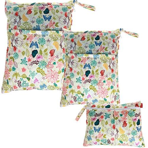 Damero 3pcs Dry Bag pacchetto Wet per pannolini di stoffa pannolino Bag Daycare sacchetto dell'organizzatore, Giungla