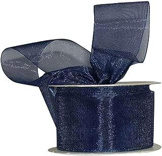Ribbon Bazaar Sheer Organza 1-1/2 inch Navy 25 Yards 100% Nylon Ribbon