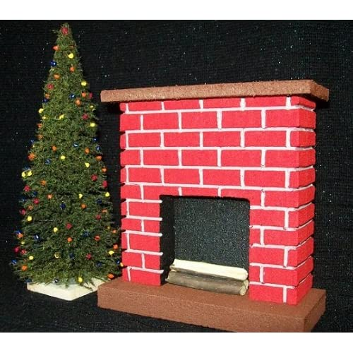 Dollhouse Miniature Fireplace Christmas Decorated tools /& all accessories shown