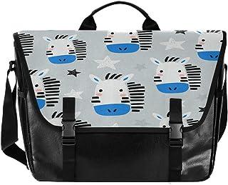 Bolsa de cartero de lona azul con diseño de gato con dibujos animados para ordenador portátil, bolso de mano
