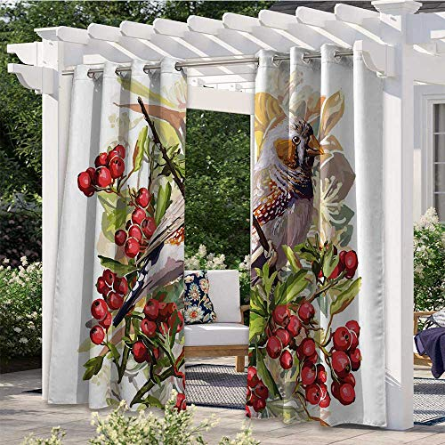 Indoor/Outdoor Curtains Colorful Bird Flower and Rowan Shrubs on White Backdrop Artistic Display Botanical Blackout Patio Outdoor Curtains Add A Soft Touch to Your Patio Multicolor W84 x L84 Inch