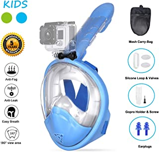 Ufanore Snorkel Mask New Version 2.0, Diving Mask Set, Foldable 180° Panoramic View, Free Breathing, Anti-Fog and Anti-Leak Full Face Snorkel Mask with Detachable Camera Mount, Easy to Adjust