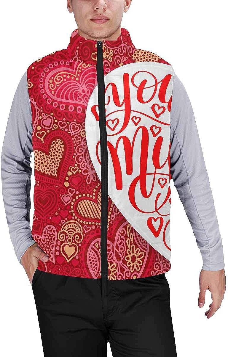 InterestPrint Men's Outdoor Casual Stand Collar Padded Vest Coats Red Heart Stripe