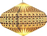 Guru-Shop Pantalla de Papel de Diseño de Origami - Modelo OVNI Blanco/gris, 22x47x47 cm, Lámparas de Techo Asiáticas Lámparas de Papel Tela