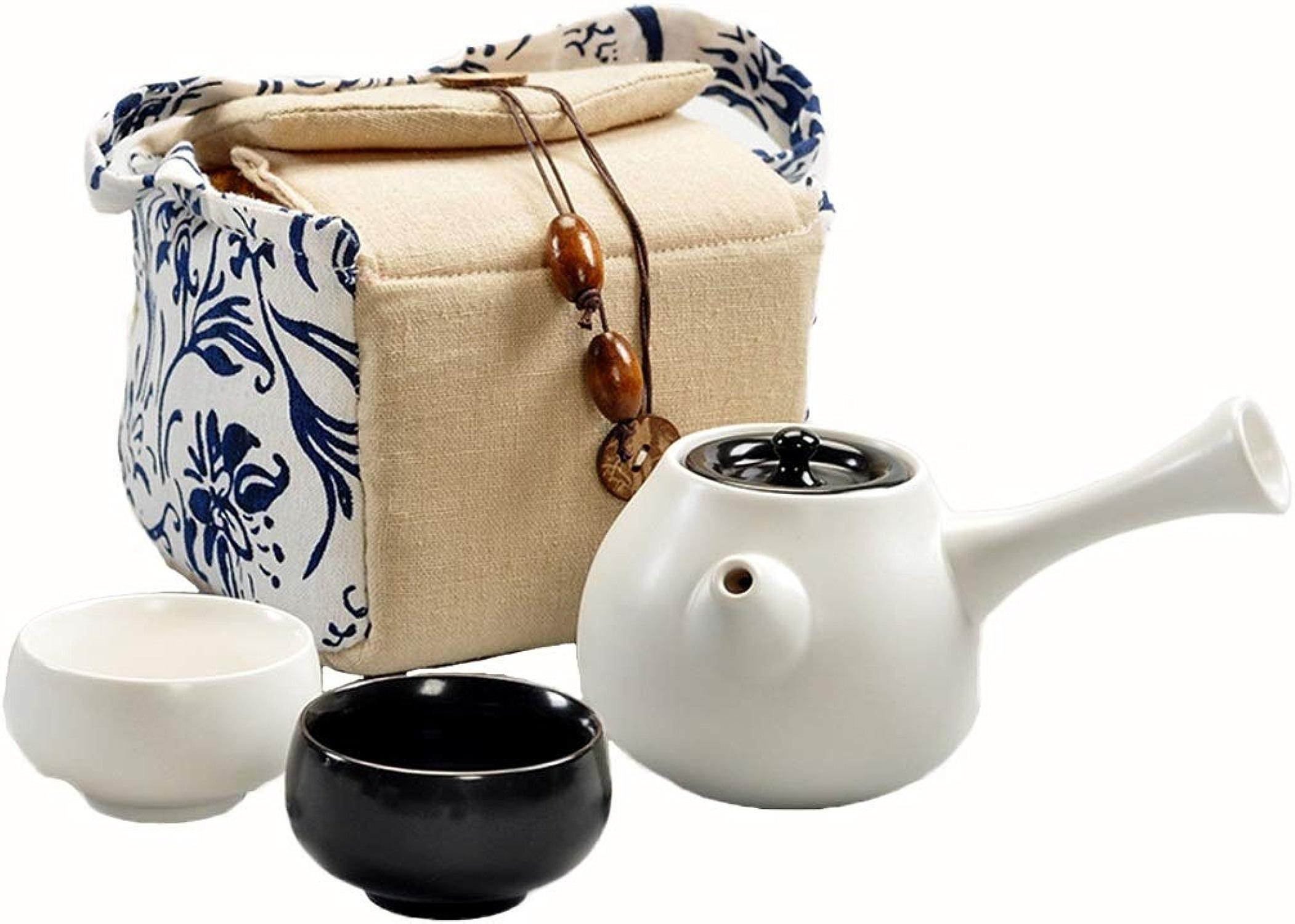Cadeau Ensemble de thé de couleur pure, un ensemble de céramique Ensemble de thé portable Ensemble de thé de ménage poignée latérale Décoration (Couleur   Blanc)