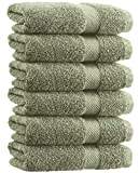 White Classic Luxury Hand Towels | Cotton Hotel spa Bathroom Towel | 16x30 | 6 Pack | Green