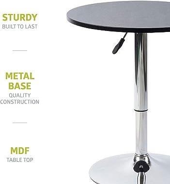 Pearington Artis Adjustable Round Bar and Pub Table Set with Chrome Base,