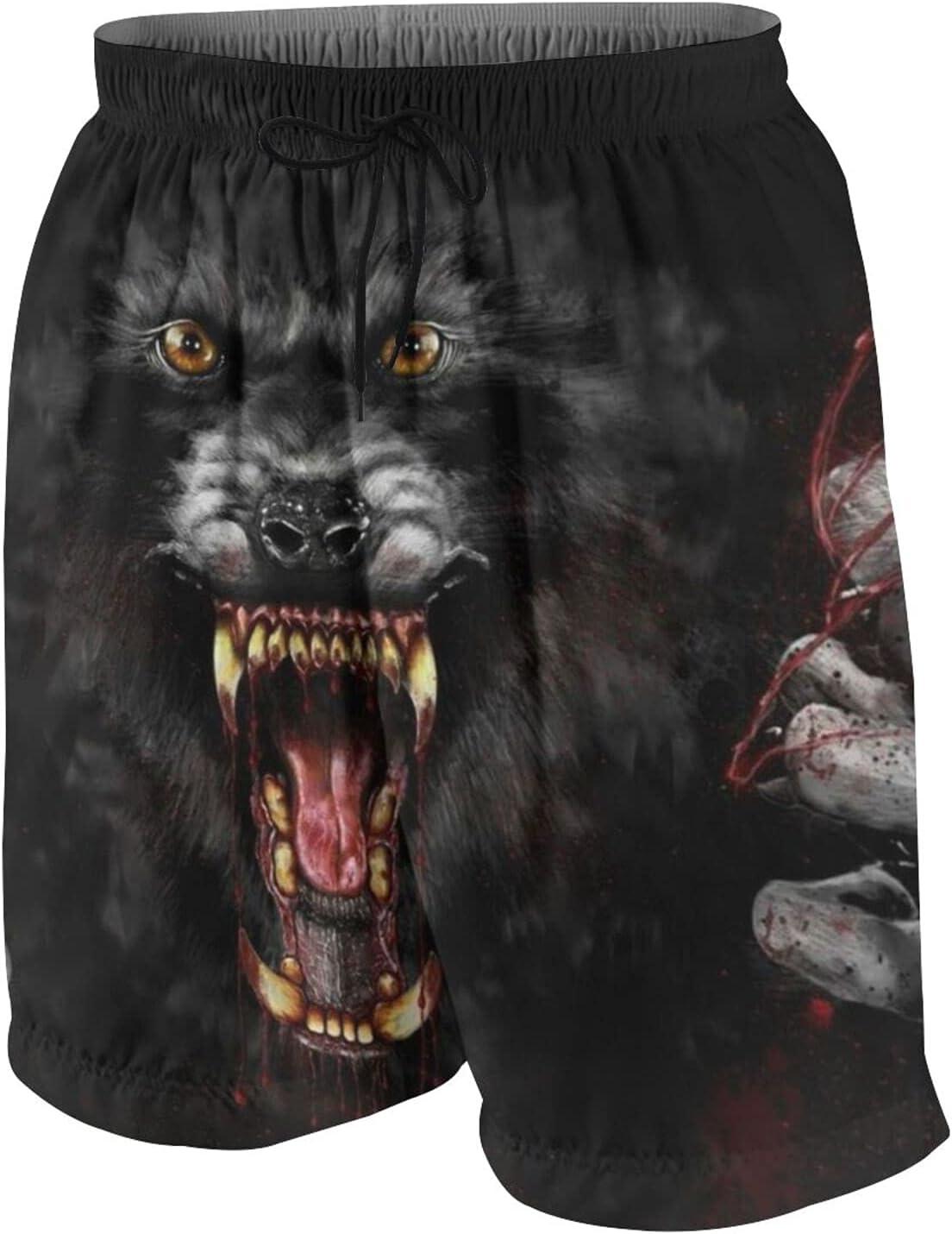 KAETZRU Boys Swim Trunks Beach Board Shorts Demon Wolf Scary Claw Red Blood Teens Quick Dry Swimsuit