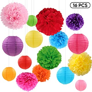16 Pcs Colorful Paper Lanterns and Tissue Paper Pom Poms Decorations for Home Decor Birthday Wedding Party Baby Shower Christmas Outdoor