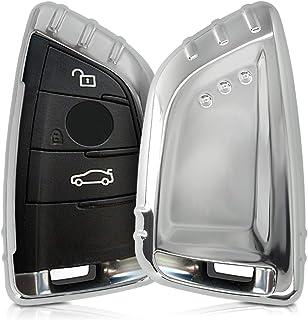 kwmobile Autoschlüssel Hülle kompatibel mit BMW 3 Tasten Smart Key Autoschlüssel   TPU Schutzhülle Schlüsselhülle Cover in Hochglanz Silber