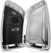 kwmobile Funda Compatible con BMW Llave de Coche Smart Key de 3 Botones - Carcasa Suave de TPU - Cover de Mando y Control de Auto en Plateado Brillante