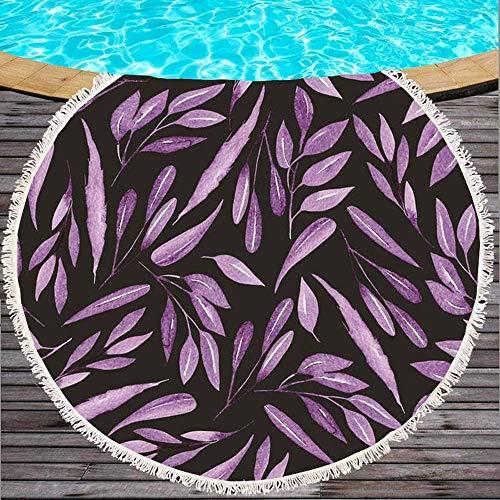 Toalla de Playa Redonda Gruesa Manta de Playa, Hojas moradas Borla Impresa de Microfibra Toalla de Playa Redonda Baño de natación para Adultos Toalla