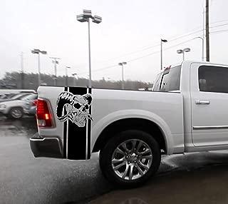 Hemi Dodge Ram Skull #2 Bed Stripes Truck Decals Mopar Stickers Set of 2 Racing (Black)