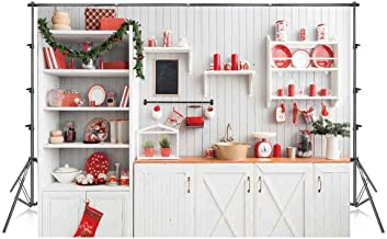 7x5 ft Christmas Backdrops for Photoshoot Kitchen Photo Background White Wood Wall Photography Backdrops Xmas Photo Booth Props