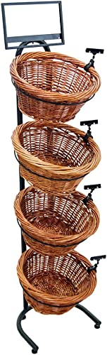 Mobile Merchandisers K1430-4B-MB 4-Tier 4 Round Willow Basket Display with Sign Frame and Sign Clips