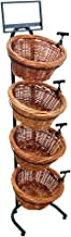 4-Tier 4 Round Willow Basket Display with Sign Frame and Sign Clips